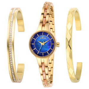 Invicta Angel Blue Dial Gold Tone Watch W/Bangles